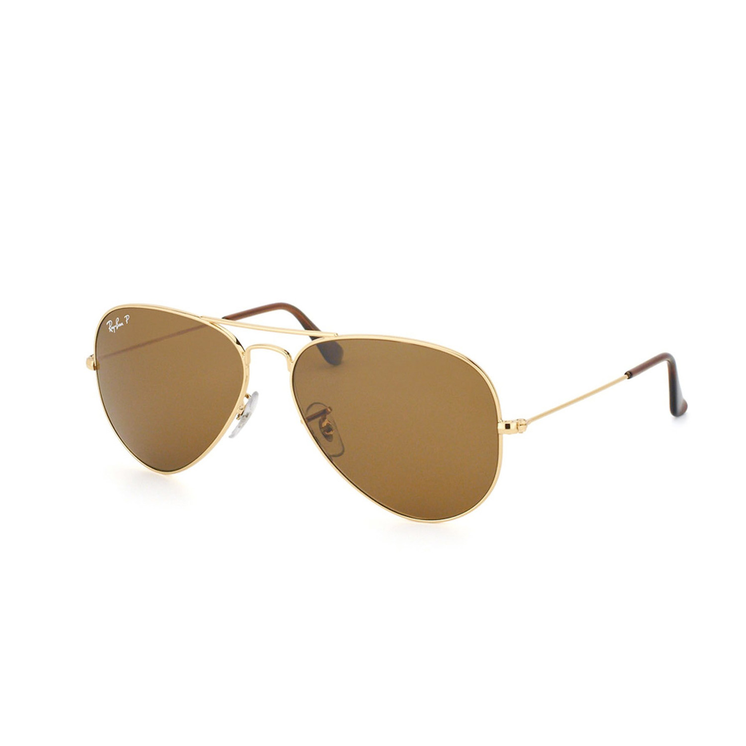 65b114b2a6 Large Metal Aviator Sunglasses    Gold + Brown    Polarized - 24 ...