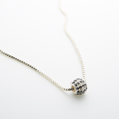 Blue Crystals + Silver Ball On Boxed Chain