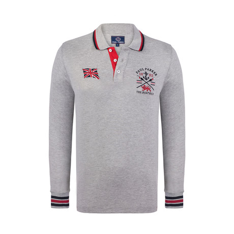 Boat Race Long Sleeve Polo Shirt // Grey Melange (XS)
