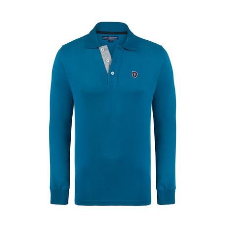 Logo Long Sleeve Polo Shirt // Petroleum (XS)