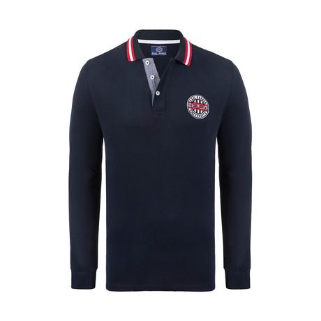 University Long Sleeve Polo Shirt // Navy (XS)
