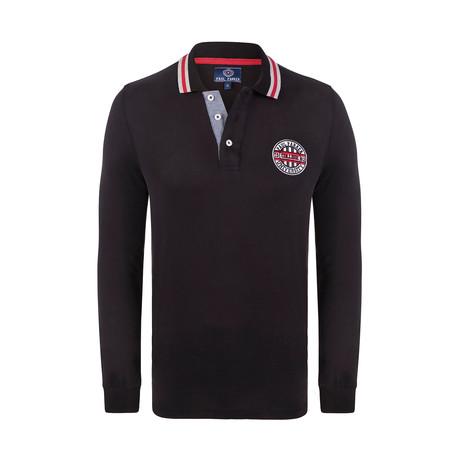 University Long Sleeve Polo Shirt // Black (XS)