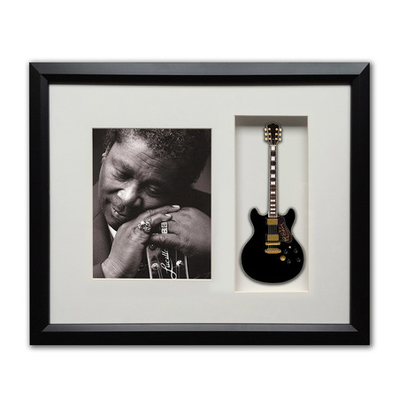 BB King Mini Guitar & Photo Tribute Shadow Box