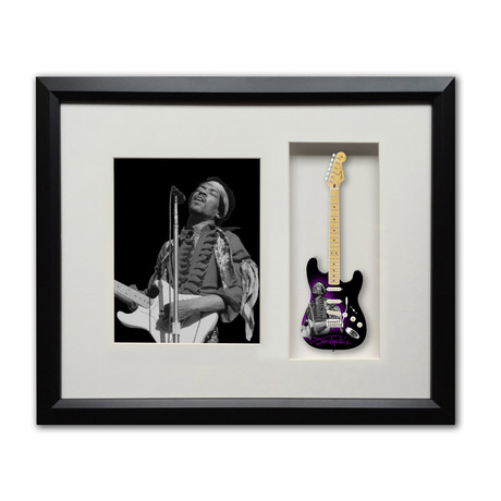 Jimi Hendrix Tribute Fender™ Strat™ Mini Guitar & Photo Tribute Shadow Box