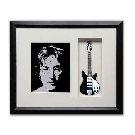 John Lennon Imagine Mini Guitar & Photo Tribute Shadow Box
