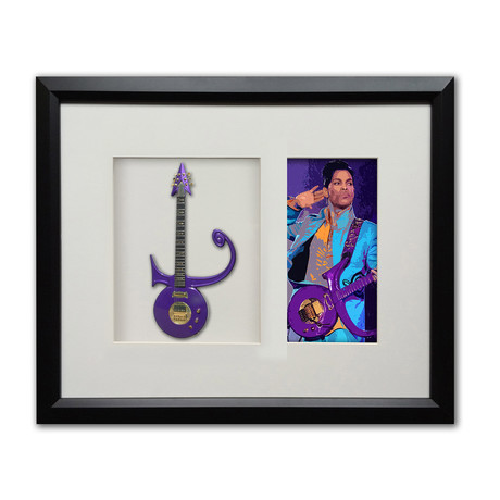 Prince Purple Symbol Mini Guitar & Photo Tribute Shadow Box