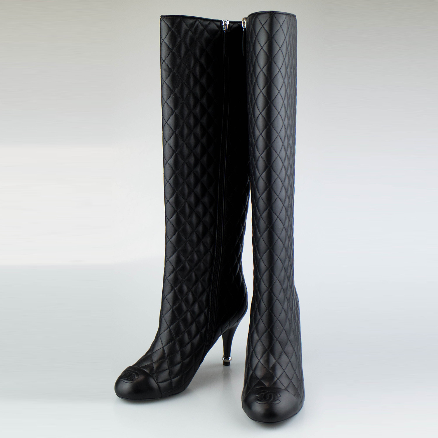 Chanel Quilted Leather Knee High Boots Black Euro 355 The