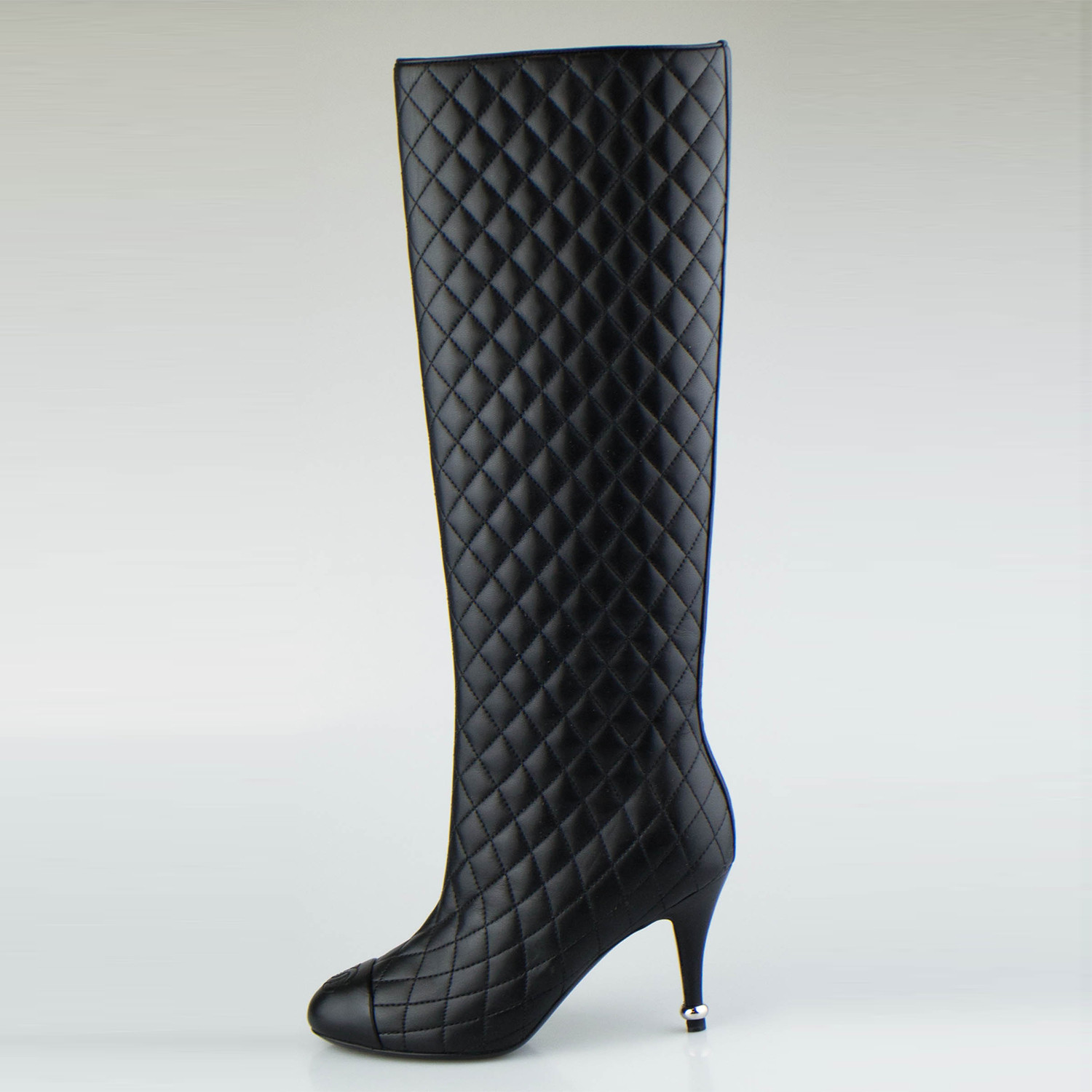 Chanel Quilted Leather Knee High Boots Black Euro 35 The
