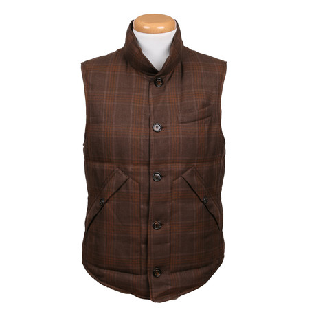 Plaid Wool Blend Vest // Brown (XS)