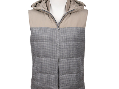 Photo of Brunello Cucinelli Designer Leather Jackets & Vests Wool Blend Hooded Vest // Gray (S) by Touch Of Modern
