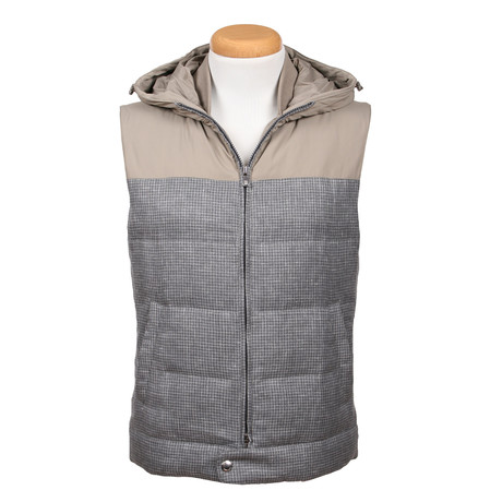 Wool Blend Hooded Vest // Gray (XS)