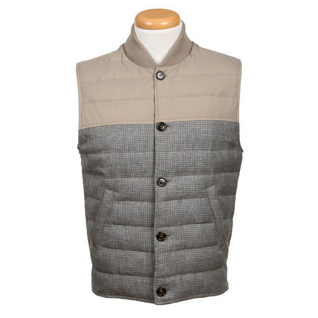 Two-Tone Wool Puffer Vest // Gray (XS)