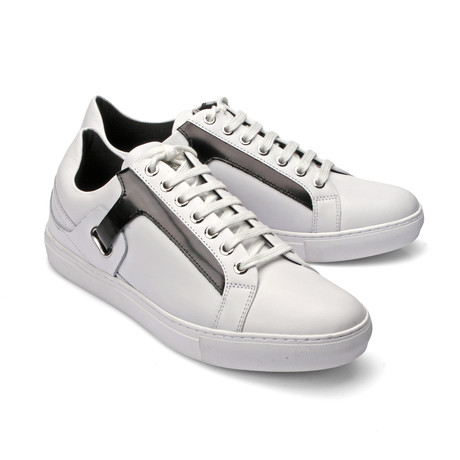 Patent Leather Detail Lace-Up Sneaker // White (Euro: 39)