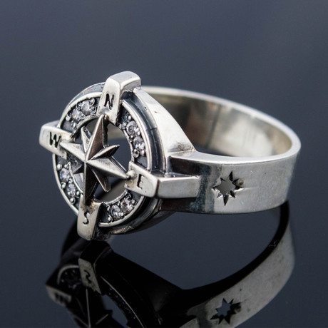 Sailor Collection // Compass Symbol + White Cubic Zirconia (6)
