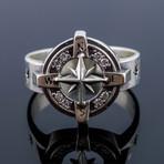 Compass Symbol + White Cubic Zirconia (9.5)