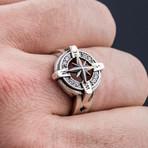 Compass Symbol + White Cubic Zirconia (8.5)