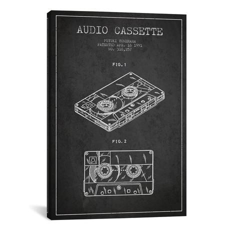 "Fuyuki Yonehara Audio Cassette Patent Sketch (Charcoal) // Aged Pixel (26""W x 40""H x 1.5""D)"