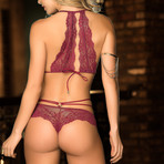 Emilie Lace Halter + Panty // Burgundy (M-L)