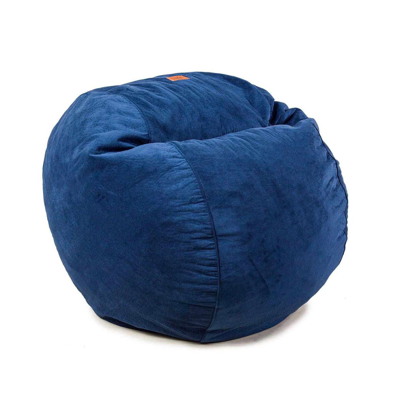 Plush Velour Convertible Bean Bag Chair Navy Cordaroy