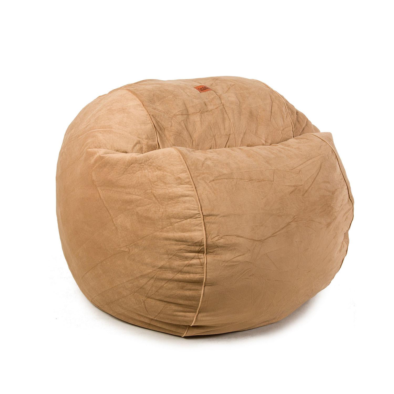 Plush Velour Convertible Bean Bag Chair Camel