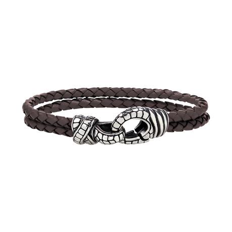 """Braided Leather Steel Bracelet // Brown (7.5"""")"""
