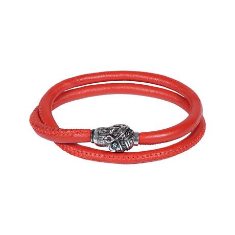 "Skull Leather Wrap Bracelet // Red (7.5""L)"