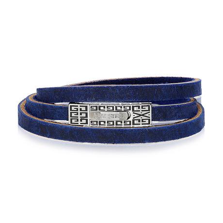 """Leather Wrap Bracelet // Navy (7.5""""L)"""