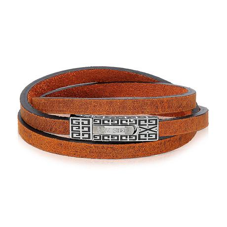 "Leather Wrap Bracelet // Brown (7.5""L)"