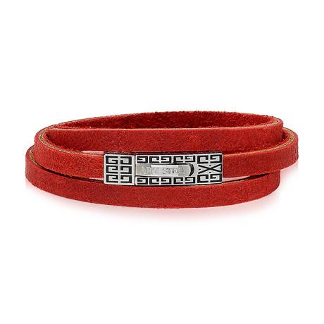 "Leather Wrap Bracelet // Red (7.5""L)"