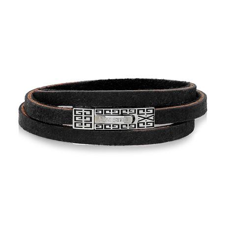 "Leather Wrap Bracelet // Black (7.5""L)"