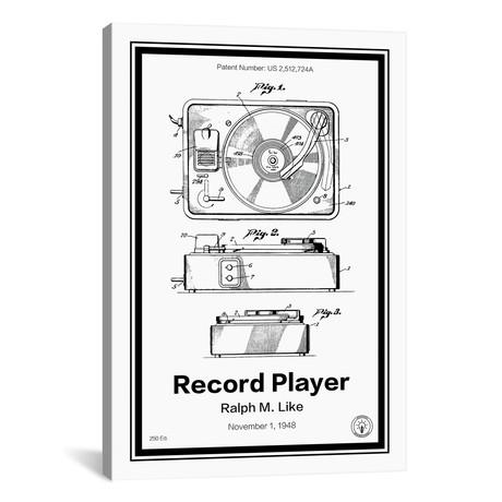"Record Player // Retro Patents (12""W x 18""H x 0.75""D)"