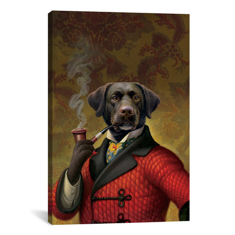 "The Red Beret (Dog) by Dan Craig (18""W x 26""H x 0.75""D)"