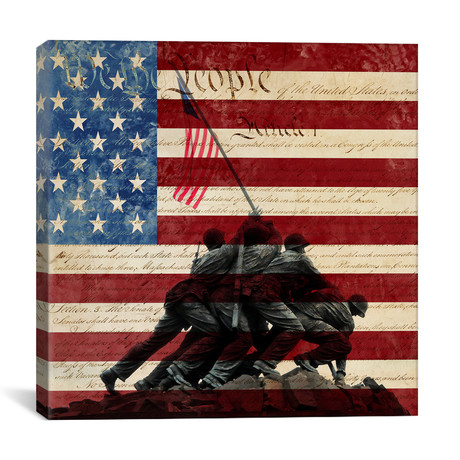 "Iwo Jima War Memorial Flag // iCanvas (18""W x 18""H x 0.75""D)"