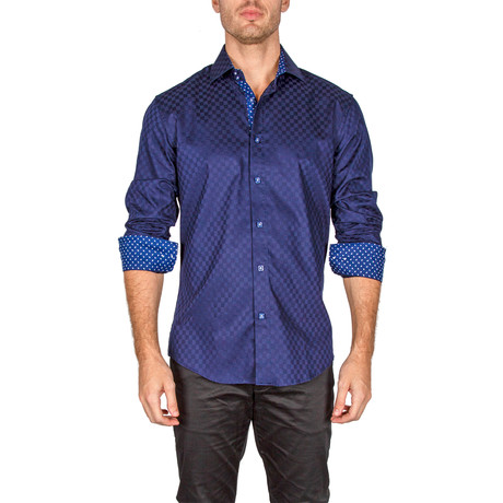 William Long-Sleeve Button-Up Shirt // Navy (XS)