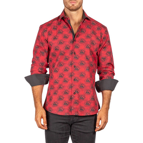 James Long-Sleeve Button-Up Shirt // Red (XS)