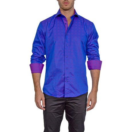 Warner Long-Sleeve Button-Up Shirt // Blue (XS)