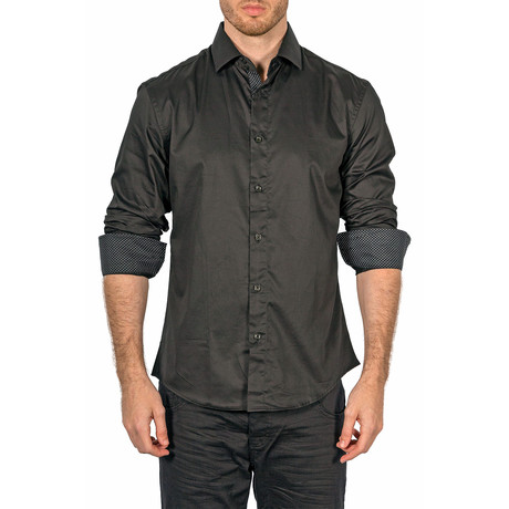 Solid Long-Sleeve Button-Down Shirt // Black (XS)