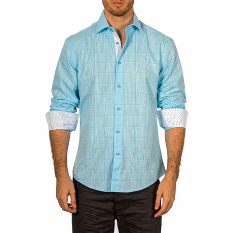 Cameron Long-Sleeve Button-Up Shirt // Turquoise (XS)
