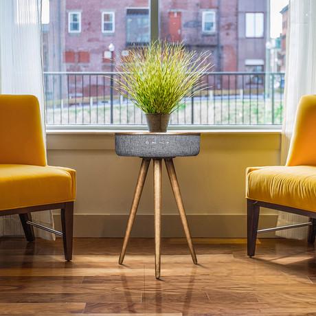 Studio Smart Table // Built In 360° Bluetooth Speaker + Wireless Qi Charger (Dark Oak Wood)