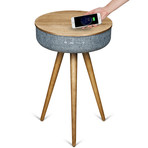 Studio Smart Table // Built In 360° Bluetooth Speaker + Wireless Qi Charger (Light Ash)