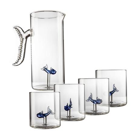 Fish Set // Decanter + 4 Glasses