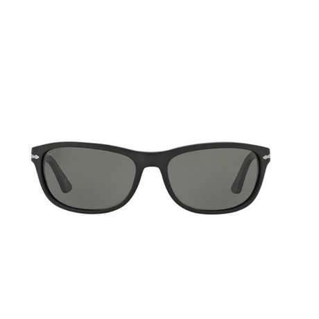 Polarized Wrap Sunglasses // Black + Polarized Grey