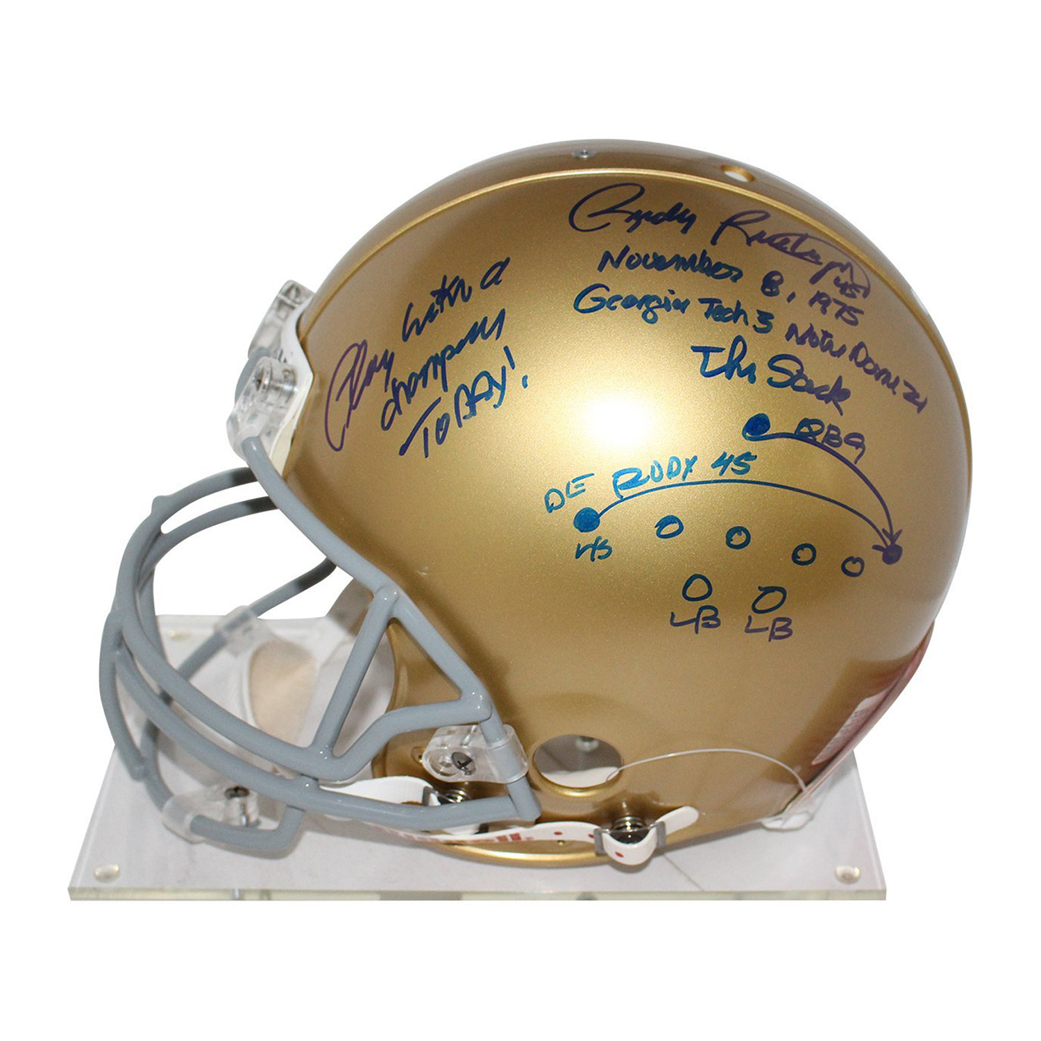 Lou Holtz Rudy Ruettiger Signed Notre Dame Authentic Helmet