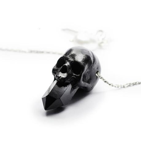 Skull + Crystal Pendant // Black + Silver