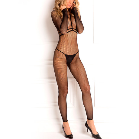 Body Conversation Harness Set + Lace Top Stockings (S/M)