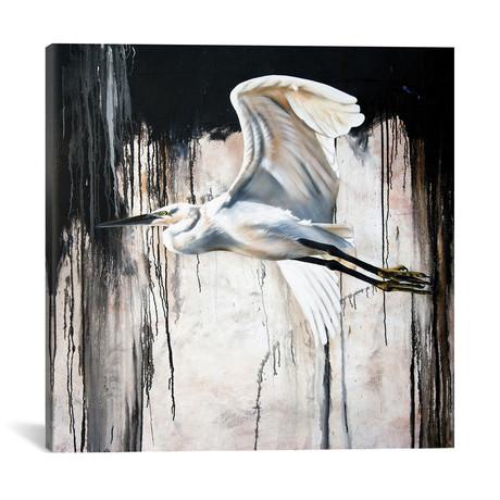 "Abstract Egret // Sandi Baker (18""W x 18""H x 0.75""D)"
