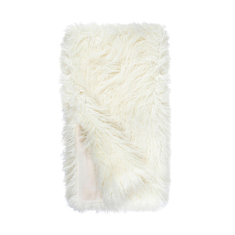 Signature Faux Fur Throw // Ivory Tibetan Lamb