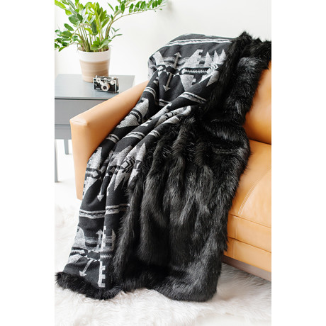 Aztec Faux Fur Throw // Black Fox