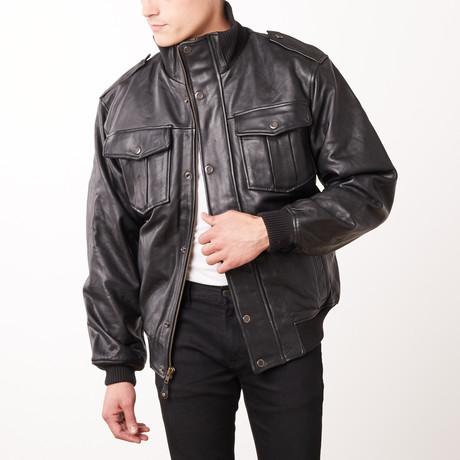 Wilda Razor Leather Jacket // Black (L)