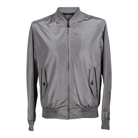Silk Bomber Jacket // Silver + Gray (XS)